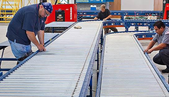 Warehouse conveyor, roller conveyor system