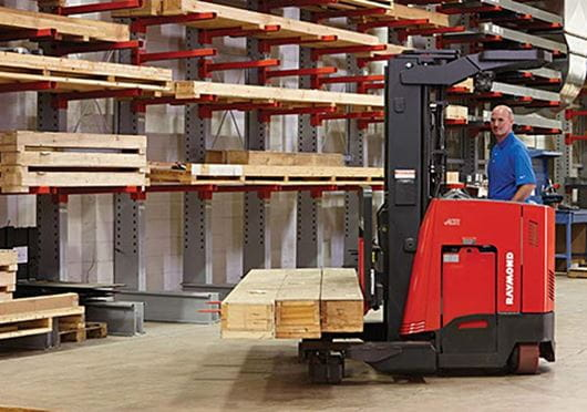 Raymond 7310 4-Directional Long Load Forklift in Lumber Application