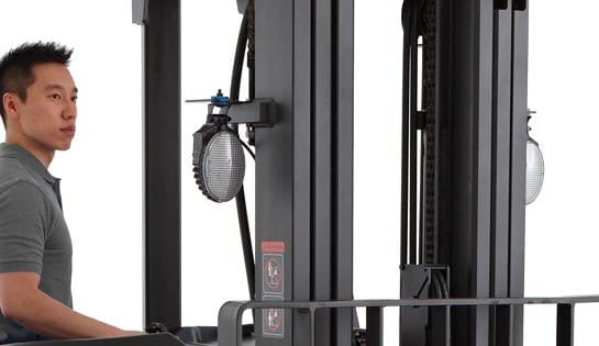 stand up lift truck with work lights