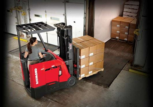 Raymond 4250 Stand Up Counterbalanced Truck Loading Trailer on Dock