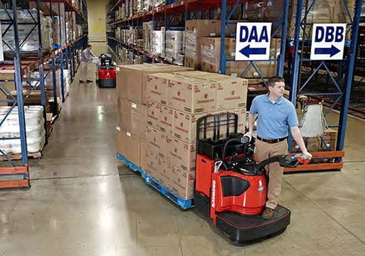 Raymond 8410 Pallet Truck in Warehouse
