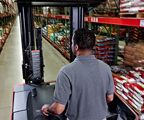 Raymond reach truck, reach forklift in operation