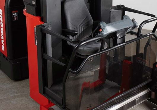 Raymond 9800 Swing Reach Truck Comfortable operator compartment